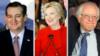 Kandida Ted Cruz (R), Hillary Clinton (D) ak Bernie Sanders (D).