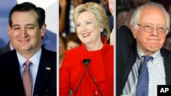Kandidat capres AS, dari kiri ke kanan, Ted Cruz, Hillary Clinton, Bernie Sanders. (Foto: dok.)