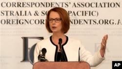 Perdana Menteri Australia Julia Gillard saat memberikan sambutan dalam jamuan makan siang bersama wartawan asing di Sydney, Australia (4/4).