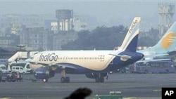 FILE - An IndiGo aircraft stands parked at Chhatrapati Shivaji airport in Mumbai, India, January 12, 2011.