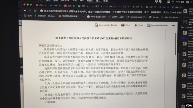 郭飞雄妻子张青给联合国高级人权专员的信 (消息人士提供)