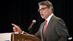 Republican, former Texas Gov. Rick Perry speaks at the Eagle Council XLIV, sponsored by the Eagle Forum in St. Louis, Sept. 11, 2015.