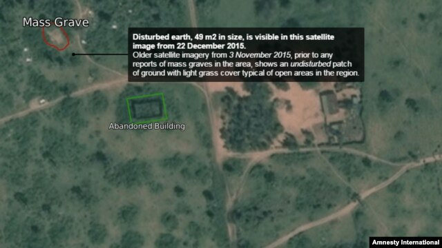 These satellite images from the Amnesty International web site show locations on the outskirts of Bujumbura, Burundi where Amnesty says dozens of people killed by security forces in December may be buried in mass graves.