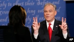 Democratic vice-presidential nominee Sen. Tim Kaine gestures during the debate