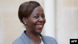 La ministre rwandaise des Affaires étrangères, Louise Mushikiwabo, candidate à la présidence de l'Organisation internationale de la Francophonie (OIF), à l'Elysée, Paris, le 23 mai 2018.