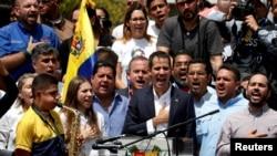 委内瑞拉反对派领导人瓜伊多5月4日在首都发表讲话。