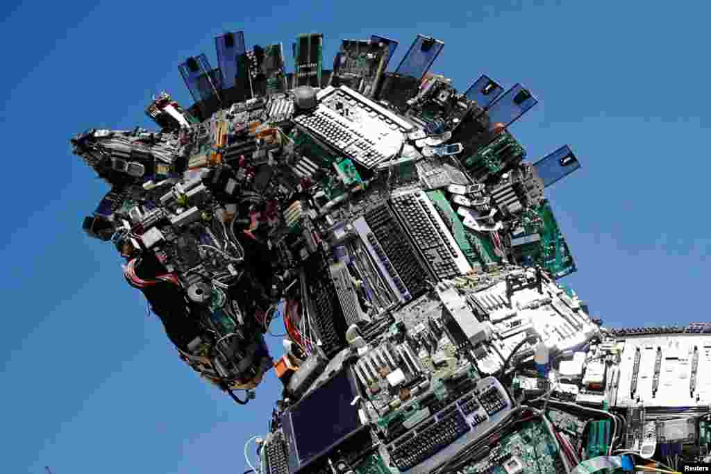 "A close-up of the head of a ""Cyber Horse"", made from thousands of infected computer and cell phone bits, is on display at the entrance to the annual Cyberweek conference at Tel Aviv University, Israel."