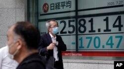 ພວກຜູ້ຊາຍຍ່າງຜ່ານປ້າຍອີເລັກໂທຣນິກຂອງລາຄາຮຸ້ນຕ່າງໆ ທີ່ສະແດງໃຫ້ເຫັນດັດຊະນີຮຸ້ນ Nikkei 225 ຂອງຍີ່ປຸ່ນ ຢູ່ບໍລິສັດຫລັກຊັບ ໃນນະຄອນໂຕກຽວ, ວັນທີ 27 ກໍລະກົດ 2020. Asian stock markets were mixed Monday amid U.S.-China tension and concern a recovery from the coronavirus pandemic might be…