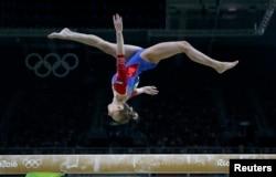 Daria Spiridonova (RUS) of Russia competes on the balance beam during the women's qualifications.