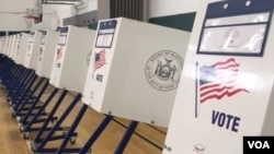 FILE - Voting booths at a polling station in Brighton Beach, Brooklyn, New York, April 19, 2016. (D. Schrier / VOA)