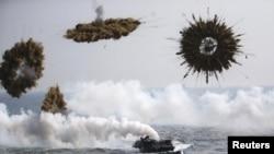 지난 3월 한국 포항에서 연례 미한 연합훈련인 독수리 연습이 실시되고 있다. (자료사진)