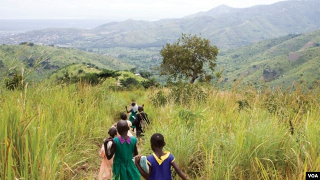 Children walking near the forest landscape restoration nursery in Kasese District, Rwenzori Mountains, Uganda. (AfDB)