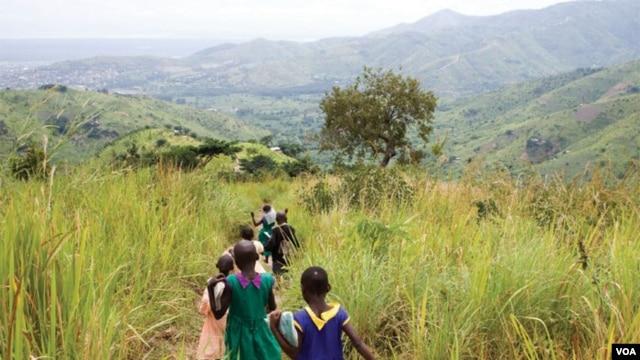 Children walking near the forest landscape restoration nursery in Kasese District, Rwenzori Mountains, Uganda. (AfDB)
