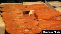 Salmon merupakan sumber minyak ikan yang populer.
