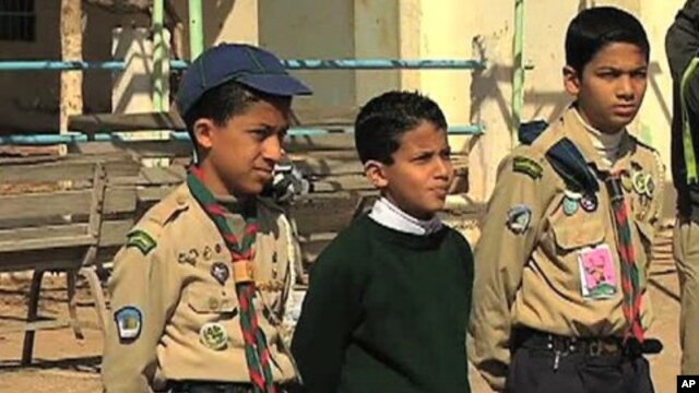 Libyan Boy Scouts, just a few of around 3,500 in the town of Benghazi, are organized and able, 7 March 2011