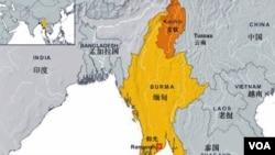 缅甸克钦邦地理位置图
