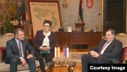 Predsjednik Republike Srpske Milorad Dodik razgovarao jeu Banjaluci sa predsjednikom Južne Osetije Antolijem Bibilovim, 10. januar 2018.