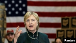 """FILE - U.S. Democratic presidential candidate Hillary Clinton speaks at a campaign event in Athens, Ohio, May 3, 2016. Clinton reversed herself on her support of the TPP, praising it as """"the gold standard in trade agreements"""" during President Obama's first term."""
