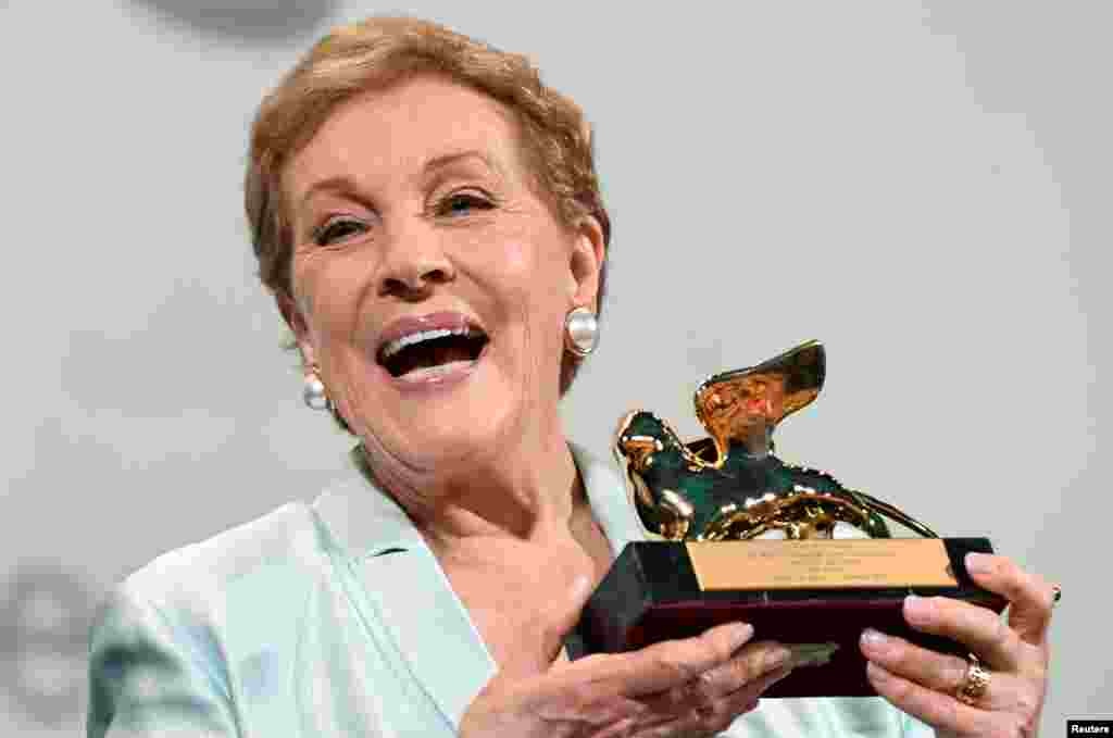Julie Andrews poses with the Golden Lion for Lifetime Achievement award during the 76th Venice Film Festival, Italy.