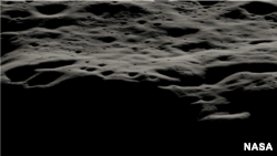This data visualization shows the mountainous area west of Nobile Crater and the smaller craters that litter its rim at the lunar South Pole. The terrain in the Nobile region is most suitable for the VIPER rover to navigate, communicate, and characterize