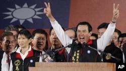 台湾总统马英九1月14日在台北宣布胜选