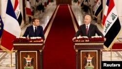 Fransa Cumhurbaşkanı Macron ve Irak Cumhurbaşkanı Berham Salih