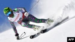 La Kenyane Sabrina Simader lors de la compétition de slalom à St Moritz, le 16 février 2017.