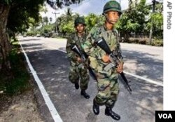 Tentara Thailand berpatroli di provinsi Narathiwat.