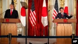 Спільна прес-конференція президента США Дональда Трампа і прем'єр-міністра Японії Сіндзо Абе, 27 травня 2019 року