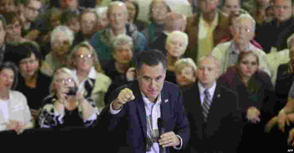 Republican presidential candidate, former Massachusetts Gov. Mitt Romney, campaigns at the University of South Carolina Aiken, in Aiken, S.C., Friday, Jan. 13, 2012. (AP Photo/Charles Dharapak)