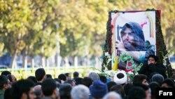 مراسم تشییع جنازه محمدرضا دهقان امیری در ایران.