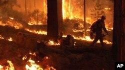 Bomberos combaten las llamas cerca del parque nacional de Yosemite, en California.