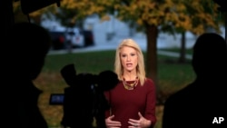 FILE - Counselor to President Donald Trump Kellyanne Conway is interviewed on television at the White House's North Lawn in Washington, Nov. 7, 2018.