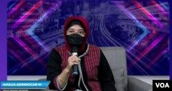 Deputi Bidang Ekonomi Bappenas, Amalia Adininggar Widyasanti, Selasa 22 Desember 2020. (foto: VOA/Anugrah)
