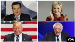 4 kandida a la prezidans Ozetazini (sòti anlè, agoch, ale nan sans zegui yon mont): Ted Cruz (R), Hillary Clinton (D), Bernie Sanders (D) ak Donald Trump (R).