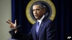 바락 오바마 미국 대통령이 16일 백악관에서 경제정책에 관한 입장을 밝히고 있다.