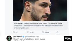 NBA球員埃內斯·坎特的推文在互聯網上引發巨大反響
