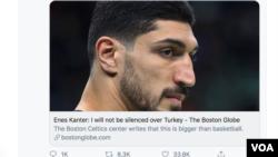 NBA球员埃内斯·坎特的推文在互联网上引发巨大反响