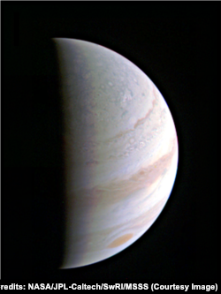 Jupiter as seen from NASA's Juno spacecraft as it approaches the giant planet.