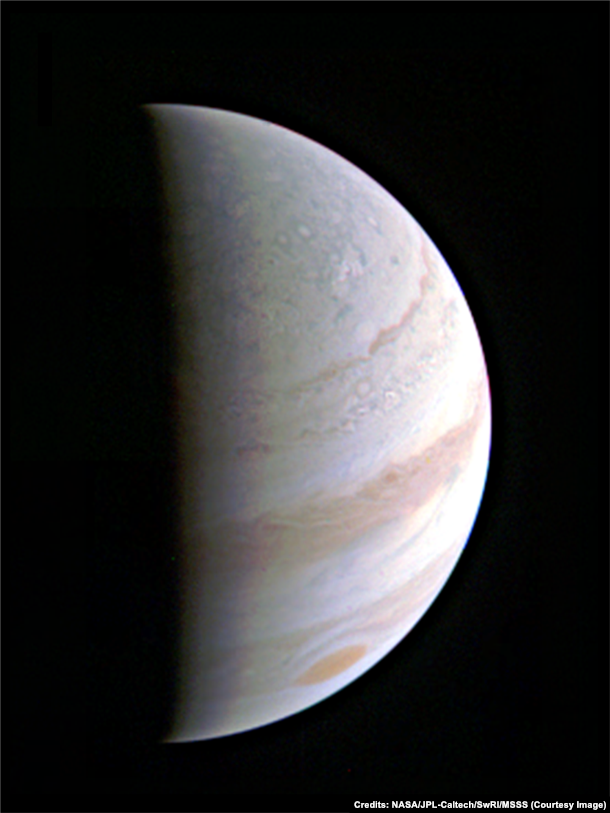 Jupiter as seen from NASA's Juno spacecraft as it approaches the giant planet. Taken August 27, 2016.