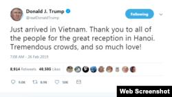 TT Trump viết trên Twitter cảm ơn người dân Việt Nam ngay sau khi ông đặt chân đến Hà Nội hôm 26/2/2019.