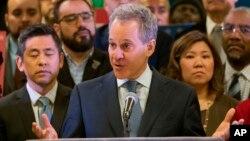 Le procureur général de New York, Eric Schneiderman, lors d'une conférence de presse à New York, le 3 avril 2018.