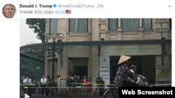 Hình ảnh người phụ nữ Việt Nam đi xe đạp đội nón lá trong Twitter của TT Donald Trump 14/11/2017.
