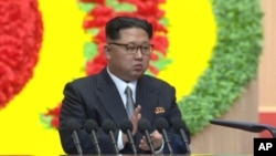 Lãnh tụ Bắc Triều Tiên Kim Jong Un phát biểu tại Đại hội đảng ở Bình Nhưỡng, ngày 7/5/2016.