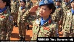 Quân nhân gìn giữ hòa bình Việt Nam trong buổi lễ nhận Huy chương của LHQ.