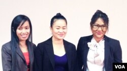 VXW Award winners Sum Dany, Phat Sreytouch and Bunn Rachana.