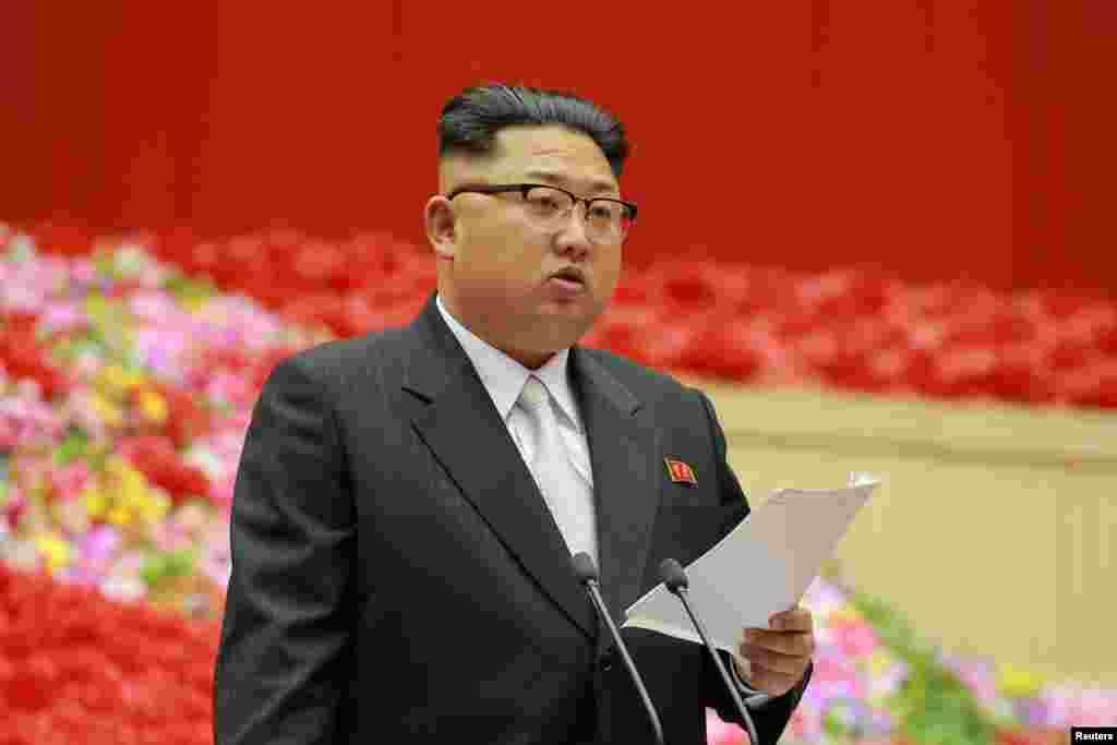 김정은 북한 국무위원장이 최근 평양체육관에서 열린 제1차 전국 노동당 초급당위원장 대회에서 발언하고 있다.