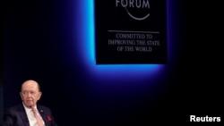 美国商务部长韦尔伯·罗斯在瑞士达沃斯出席世界经济论坛年会(2018年1月24日)