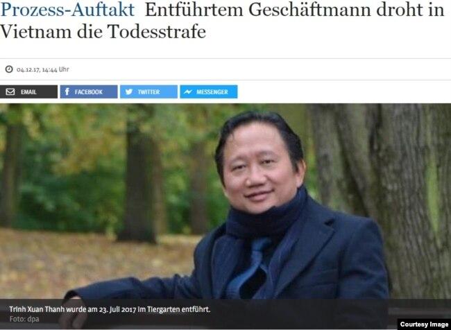 Bài viết về quyết định của Việt Nam sẽ đưa ông Trịnh Xuân Thanh ra xét xử vào tháng 1/2018 trên nhật báo Berliner Zeitung ra ngày 4/12/2017.