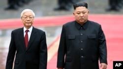 Ông Nguyễn Phú Trọng và ông Kim Jong Un tại Hà Nội, 1/3/2019.